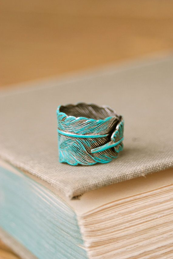 Bohemian feather ring. aqua patina,adjustable,feather ring. Tiedupmemories