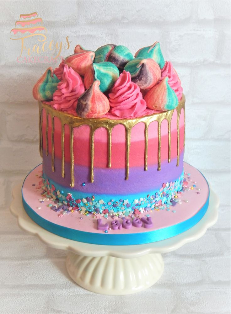 Gluten free, colourful gold drip cake