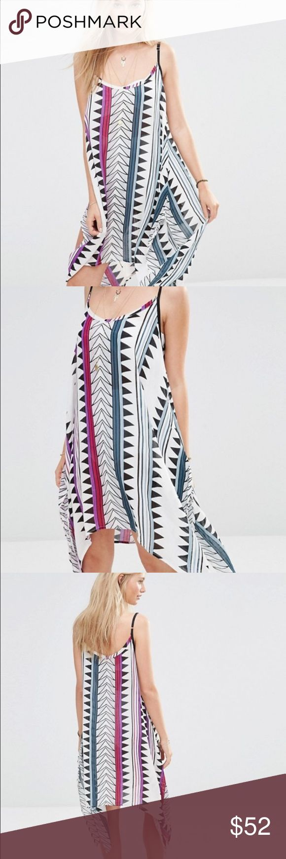 ☀️ASOS Printed Mini Beach Dress☀️ Look sizzling in this White Printed flowy beach dress | Asymmetrical cut for added beauty | New tags attached ASOS Dresses Mini