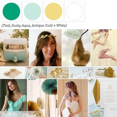 teal, aqua, gold and white palette (for traditional wedding)