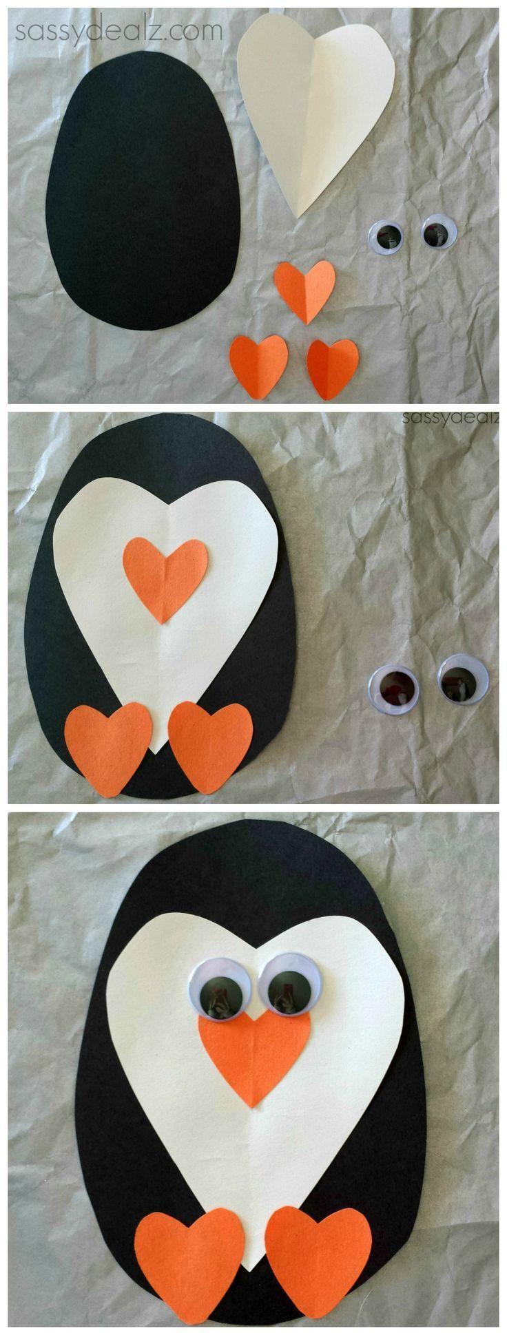 Paper Heart Penguin Craft For Kids #Valentines craft #DIY heart animal art project #winter craft | CraftyMorning.com