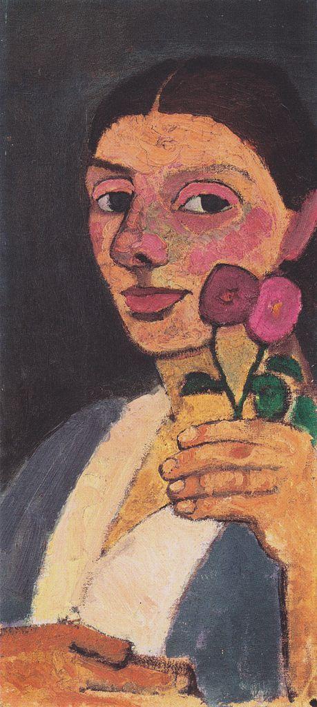 The Athenaeum - Self-Portrait with Two Flowers (1907) (Paula Modersohn-Becker - )