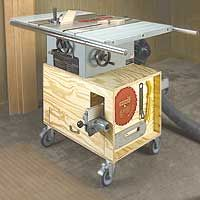 Mobile Miter Saw Stand Plans | Table Saw Stand - Provides added storage and has built-in dust ...