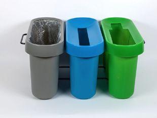 Le tri des déchets en entreprise est faciliter par la corbeille de tri Selectibox Tertio. 3 bacs de collecte didactique pour favoriser la compréhension du tri mis en place dans une entreprise ou une collectivité. http://www.selectibox.com