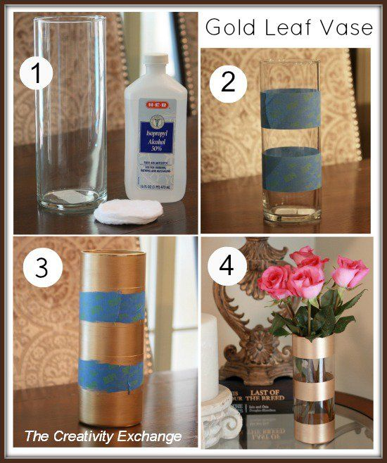 Dollar Store Home Decor Ideas Unique Tree On Dollar Store: DIY Gold Leaf Vase {How To Paint On Glass}...