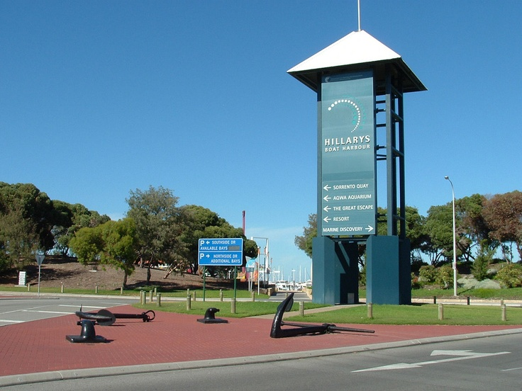 Hillarys - Sorrento Quay Entrance  The entrance sign to Hillarys Boat Harbour located on the corner of West Coast Highway and Hepburn Avenue. This marina, harbour and facilities was the brain-child of the Lombardo family (famed in Fremantle for their fishing and fine seafood produce). January 2009
