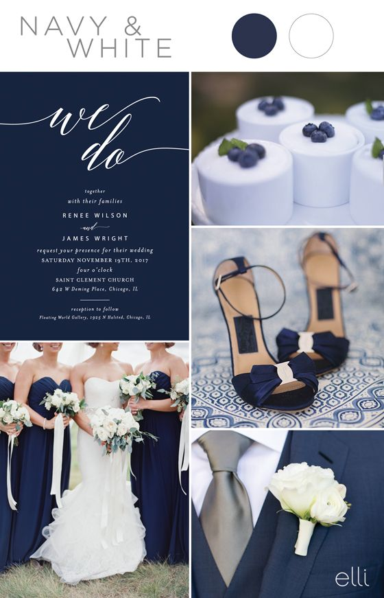 Five Stunning Navy Blue Color Palettes For 2017 Weddings.