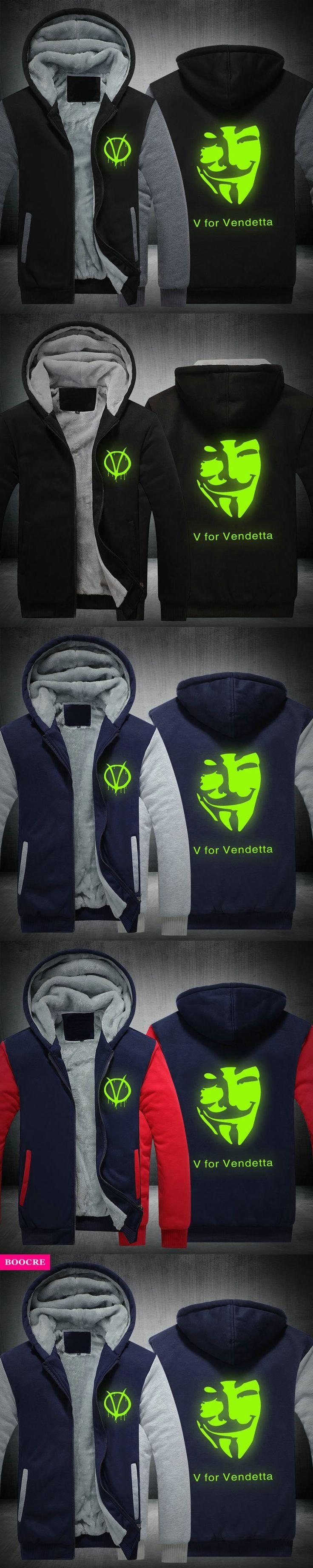BOOCRE Winter V For Vendetta Mask Rangers Men Hooded Sweatshirts Thicken Zipper Hoodies Outerwear Jackets USA EU Size Plus Siz