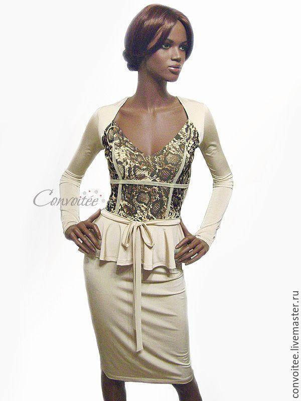 Купить Трикотажное платье Python/ gold - трикотажное платье, питон, вечернее платье, змеиный принт