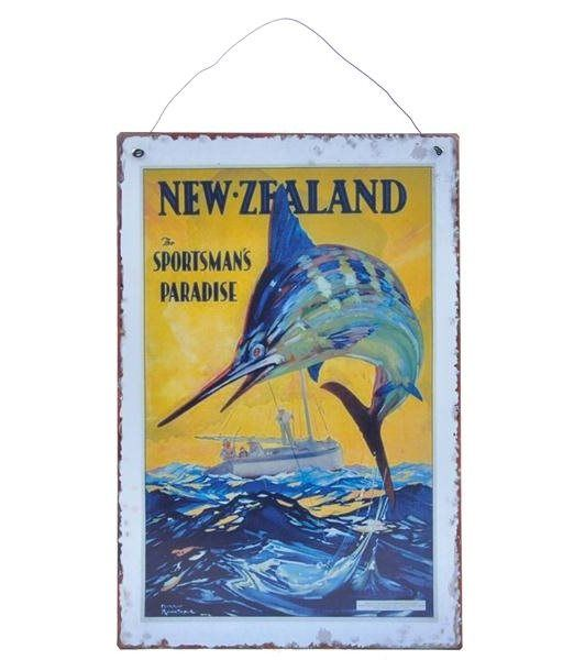 New Zealand Sportsman's Paradise Metal | Plaque Kingfisher Gifts Party & Xmas