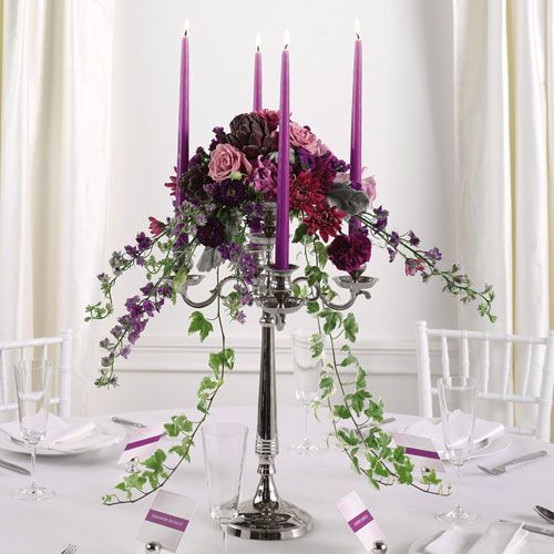 Example of a large candelabra with purple candles
