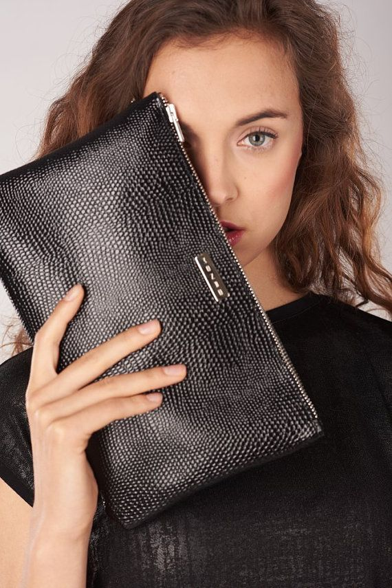 Black Lizard Leather Clutch Tassel Leather Clutch by MONAObags
