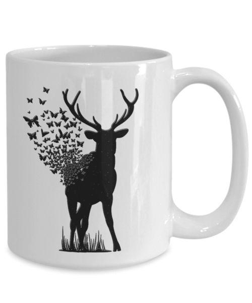 Unusual Gift Deer Butterfly, Deer with Butterflies Coffee Mug