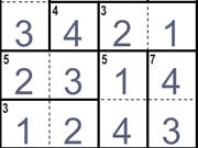 Free Online Puzzle Games, CalcuDoku is a fun twist on the classic number game of Sudoku!  The object of this game is to fill all the empty squares from 1 all the way up to the highest number without repeating that number on any row or column!  In addition to the standard rules of Sudoku, you'll have to make sure that the numbers also match the value of the math value in the top corners!, #sudoku #board #puzzle #number #logic #math