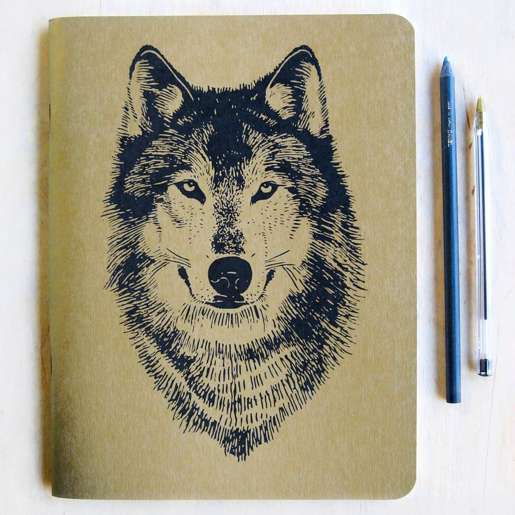 Large Gold Wolf Notebook Journal, metallic book cover, lined recycled paper, offset printed, Wolf Face, woodland, made in Portland Oregon. $15.00, via Etsy.