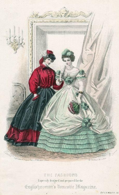 December fashions, 1861 England, Englishwoman's Domestic Magazine