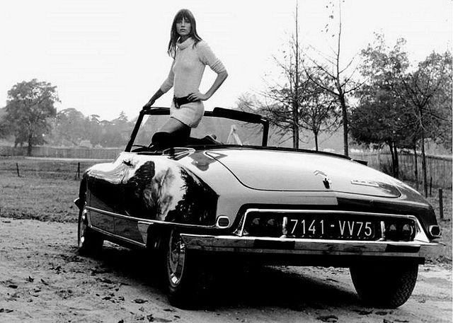 Jane Birkin in a 1968 Citroen DS21 Cabriolet