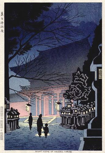 hanga gallery . . . torii gallery: Night Scene of Kasuga Shrine by Takeji Asano