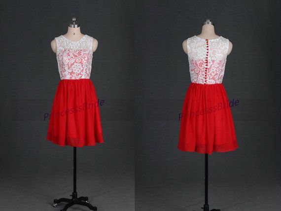 Short ivory lace red chiffon bridesmaid dresses,2014 discount prom gowns hot,cheap cute dress for wedding party under 100.    This dress is fully
