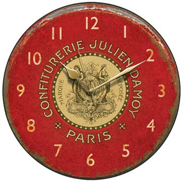 Wall clock bears the legend of a  French preserve manufacturer: 'Confiturerie Julien Damoy Paris. Marque Déposée' and has an aged appearance.