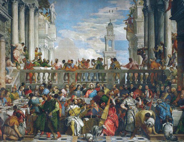 Nozze di Cana AutorePaolo Veronese Data1563 Tecnicaolio su tela Dimensioni666 cm × 990 cm UbicazioneMuseo del Louvre, Parigi