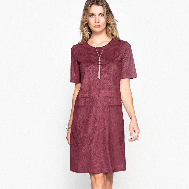 Faux Suede Dress with Jacquard Pattern