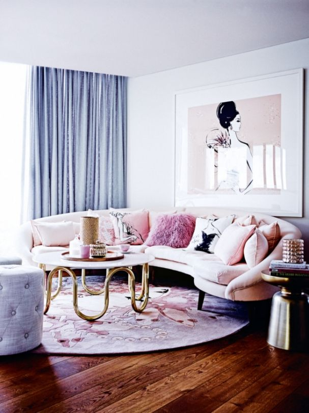 Glamorous Living Room With A Pink Couch