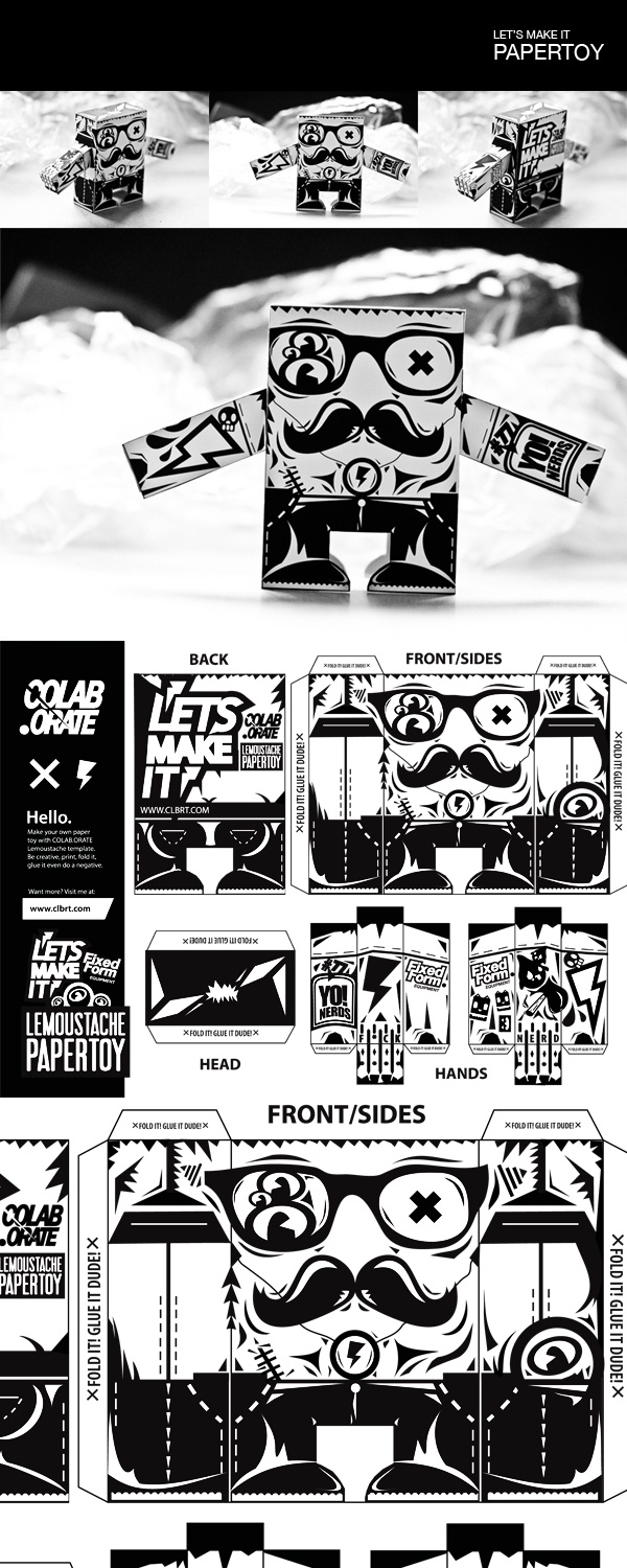 LE'MOUSTACHE | Paper Toy by Grzegorz Rauch, via Behance