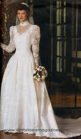 1980 wedding dresses | 1980s Wedding Dress Vogue Pattern. My wedding dress, but without the collar and lace around the neckline.