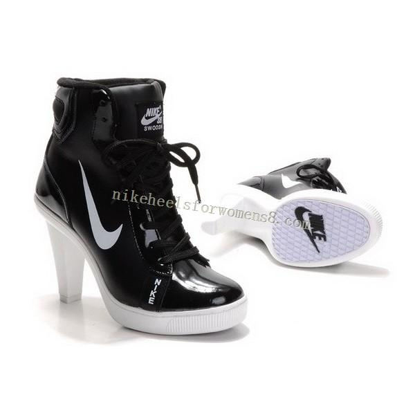 Buy Nike Swoosh High Heels For Womens in Black White source: http://