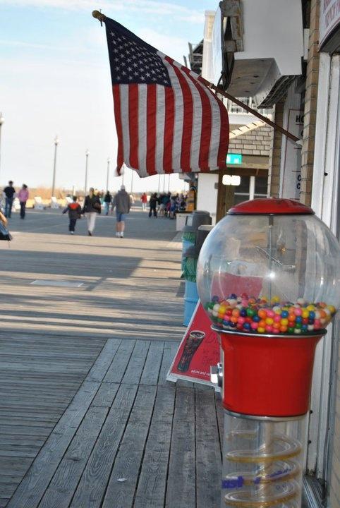 Delaware Rehoboth Beach Boardwalk Signs Sand Umbrellas 1950s Vintage