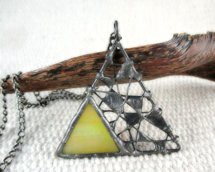 necklace with stained glass, metalwork, handmade by pentaxPL on Etsy