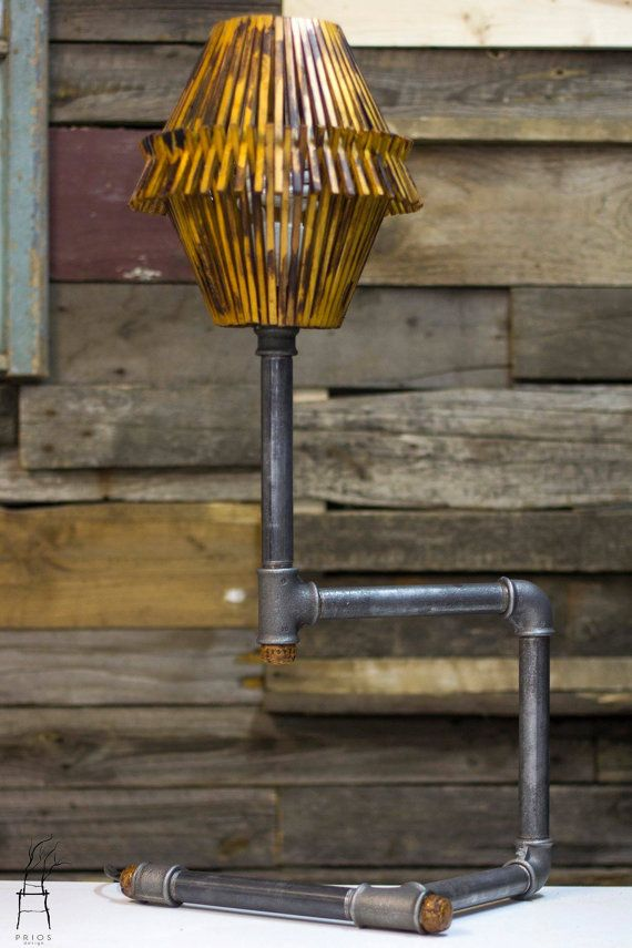 Pipe and wood lamp. by PriosTeam on Etsy