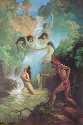 Jaka Tarub and Goddess from Kahyangan by Basuki Abdullah