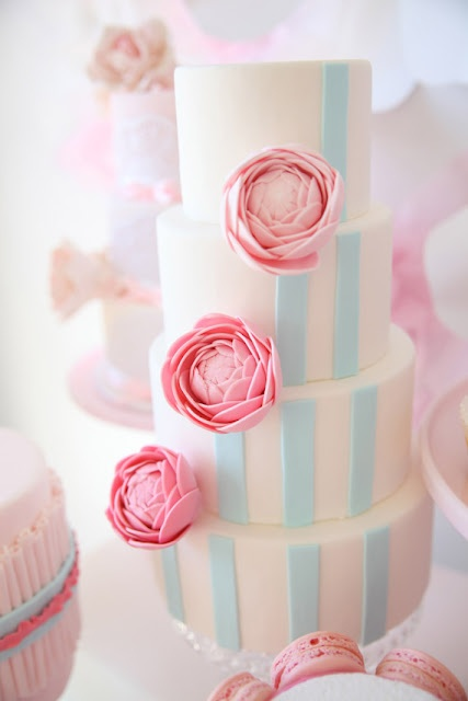 Modern White Wedding Cake with Pale Blue Stripes & Pink Peonies
