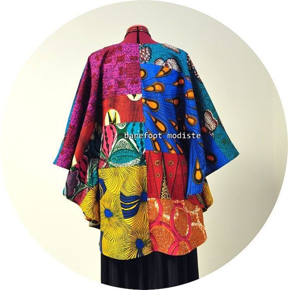 African Patchwork Bohemian Blouse Vibrant by BarefootModiste