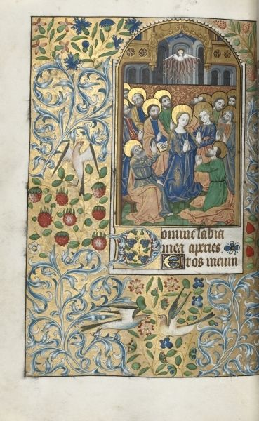 c. 1470 French Book of Hours, Pentecost by Master of the Geneva Latini - ink, tempera, and gold on vellum (7 5/8 x 5 1/8 in.) - Cleveland Museum of Art 1952.227.99.b