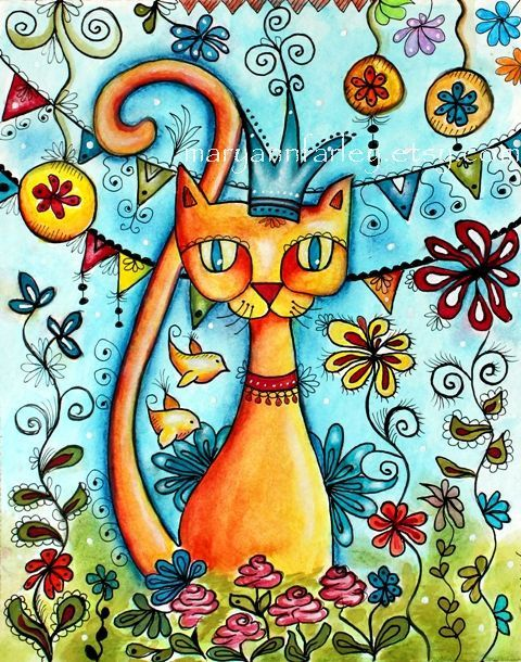 Cat Art Print, Mexican Art Print, Whimsical Flowers and Birds, Storybook Art, 8 x 10, Watercolor Mixed Media, Turquoise Blue Orange