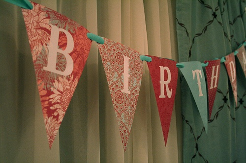 Happy Birthday sign made out of fabric. I like this much better than the paper kinds!