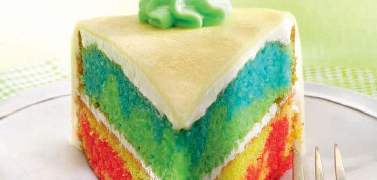 Rainbow Cake - Cynthia Barcomi Super einfach, schmeckt lecker und ein Vergnügen für die Kinder.