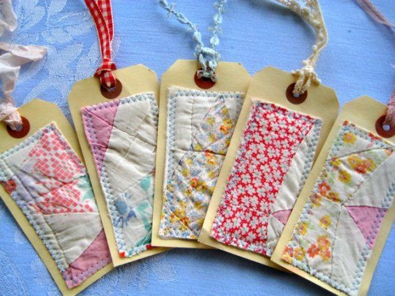 tags using salvage from old quilt