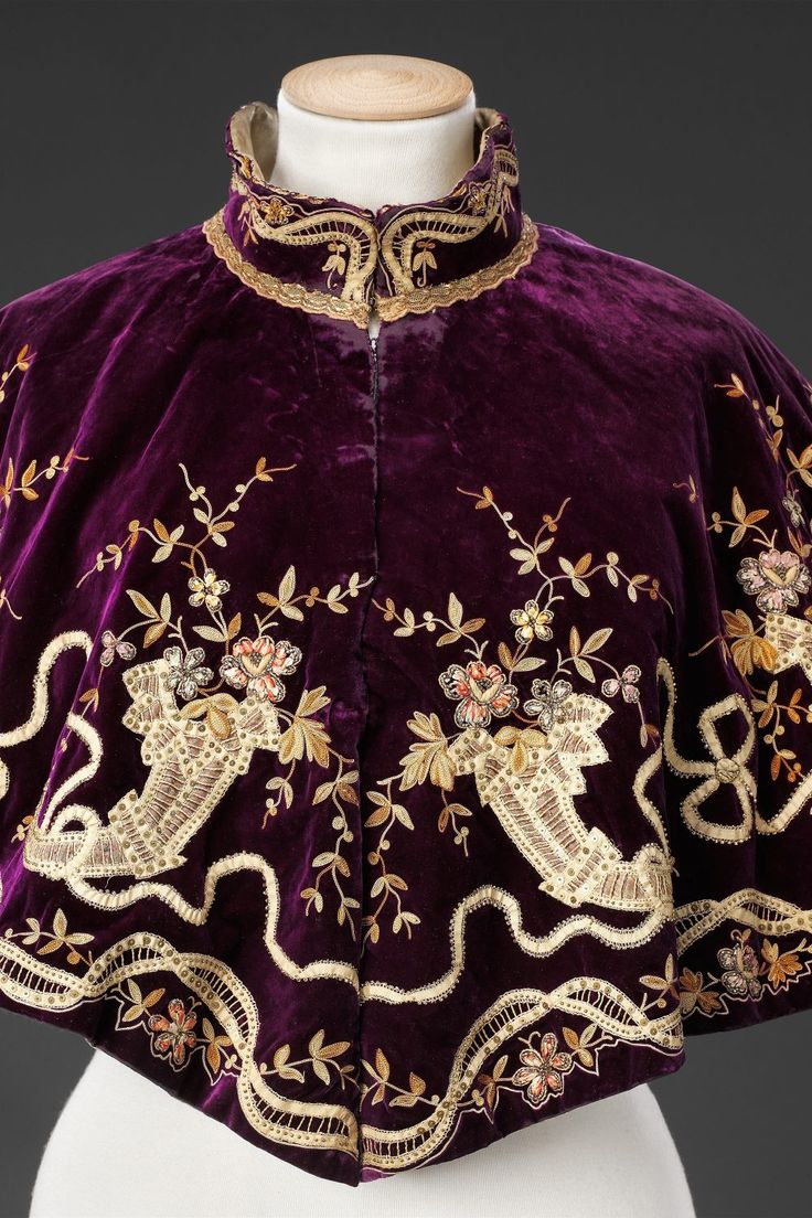 Late 1890's cape. Made from velvet and silk embroidery. Source: http://www.thejohnbrightcollection.co.uk/costume/cape/