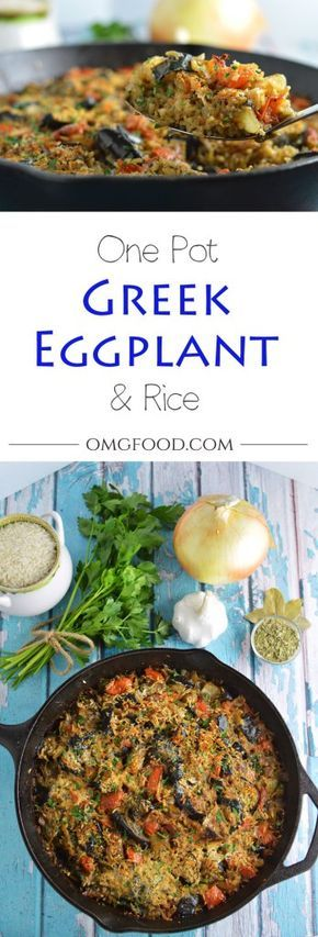 One Pot Greek Eggplant and Rice - An easy to make baked casserole topped with mizithra cheese!   omgfood.com