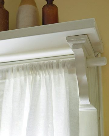 Put a shelf over a window and use the shelf brackets to hold a curtain rod- genius and beautiful AND gives a completely finished off lookKitchens Windows, Dining Room, Decor Ideas, Complete Finish, Curtain Rods, Curtains Rods, Living Room, Shelf Brackets, Windows Treatments