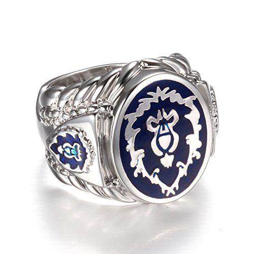 Platinum Plated World of Warcraft Ring Alliance Ring Fashion Mens Ring Ring Size 10 Christmas Gift @ niftywarehouse.com #NiftyWarehouse #WoW #WorldOfWarcraft #Warcraft #Gaming