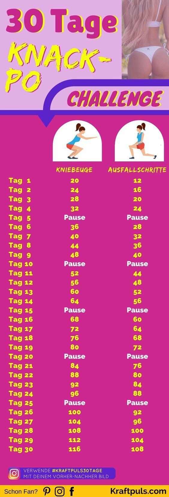 30-Tage Po Challenge: Mit Plan in nur 30 Tagen zum KNACKPO #fitness #workout #übungen #abnehmen #deutsch via @kraftpuls