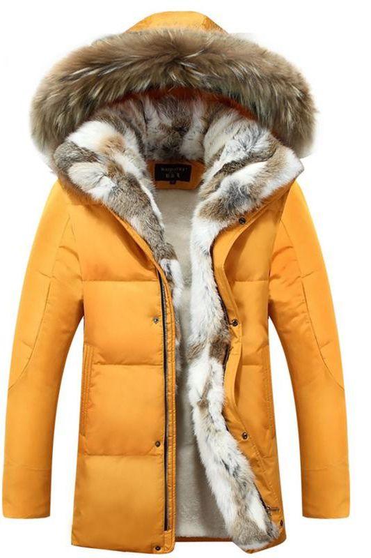 43c1b554f 2019 的 Faux Fur Collar Solid Color Men's Casual Down Jacket 主题 ...