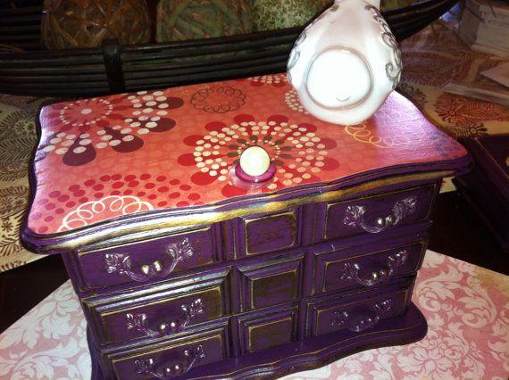 Plum colored boho jewelry box/ purple jewelry box/refurbished jewelry box