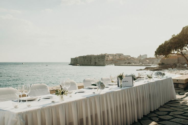 Hotel Excelsior | Dubrovnik | Croatia | Destination Wedding | Wedding Table Setting | Minimalist | Outdoor Terrace | Wedding Table Cards | Seaside Wedding