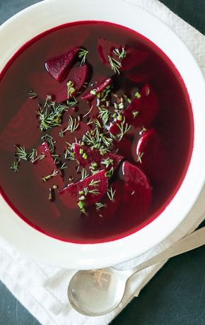 Polish Beet Soup // Sometimes called clear borscht, this rendition of the traditional Polish soup is surprisingly light and brothy. You can add a garnish of sour cream or yogurt if you like; some classic versions even include pierogi-like dumplings.
